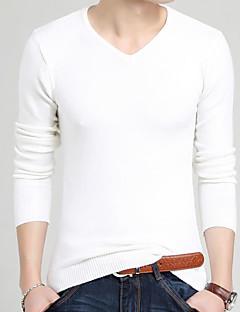 Masculino Padrão Carregam,Casual Sólido Estampado Decote Redondo Manga Longa Seda Pêlo Sintético Algodão Outono Inverno Média