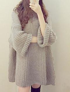 Damer Afslappet/Hverdag Normal Pullover Ensfarvet,Rund hals Langærmet Andet Forår Vinter Medium Mikroelastisk