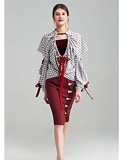 Langærmet V-hals Damer Geometrisk Farveblok Simpel Afslappet/Hverdag T-shirt,Spandex