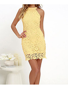 Damen Lose Kleid-Lässig/Alltäglich Einfach Solide Gurt Übers Knie Ärmellos Baumwolle Sommer Mittlere Hüfthöhe Mikro-elastisch Dünn