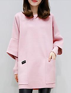 Damen Pullover Lässig/Alltäglich Solide Rundhalsausschnitt Mikro-elastisch Baumwolle Polyester Lange Ärmel Herbst Winter