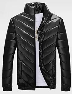 コート レギュラー ダウン メンズ,カジュアル/普段着 プラスサイズ ソリッド ポリエステル ポリプロピレン-シンプル 長袖