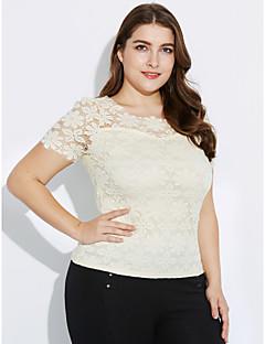 Damen Solide Lässig/Alltäglich / Übergröße Bluse,Rundhalsausschnitt Herbst Kurzarm Blau / Rosa / Weiß / Beige / Schwarz Polyester