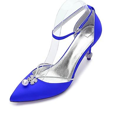 de1e62927eca Dámské Boty Satén Jaro   Léto Pohodlné   Mary Jane   D´Orsay Svatební obuv  Palec do špičky Štras   Mašle   Perličky Modrá   Světle hnědá