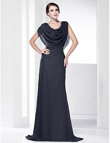 b44e927b0eb Ίσια Γραμμή Με σούρα στο λαιμό Ουρά Σιφόν Επίσημο Βραδινό Φόρεμα με Που  καλύπτει με TS Couture®