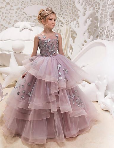 87a8f3655af Χαμηλού Κόστους Λουλουδάτα φορέματα για κορίτσια-Πριγκίπισσα Μάξι Φόρεμα  για Κοριτσάκι Λουλουδιών - Δαντέλα /