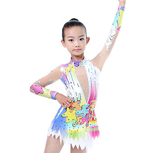 d8d6b791ffd4 Rhythmic Gymnastics Leotards / Artistic Gymnastics Leotards Women's / Girls'  Leotard Ivory High Elasticity Competition Handmade Diamond Look / Shading  Long ...