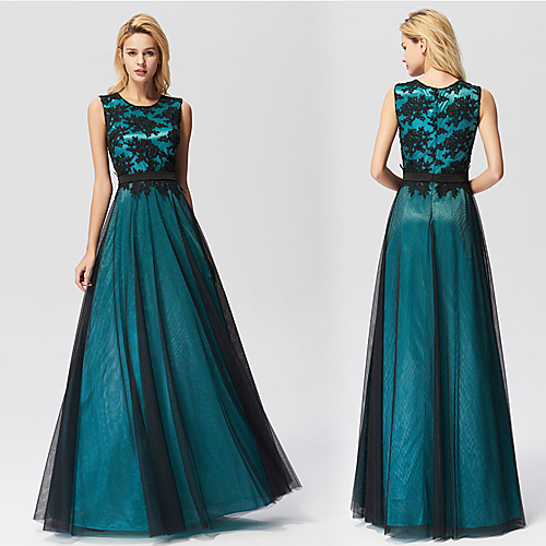 788c076971d A-Line Jewel Neck Floor Length Tulle Bridesmaid Dress with Appliques    Pleats by LAN TING Express