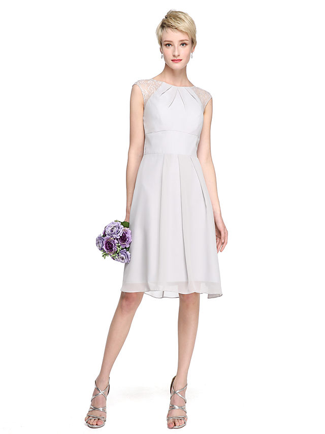 2ced62a1d A-Line Jewel Neck Knee Length Chiffon / Lace Bridesmaid Dress with Pleats  by LAN