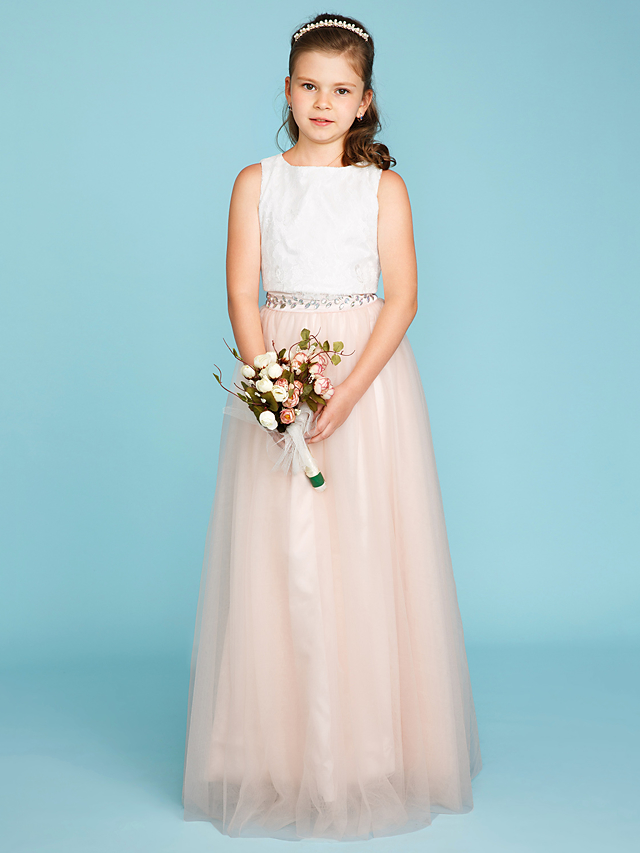 2e06e670ae Two Piece Jewel Neck Floor Length Lace / Tulle Junior Bridesmaid Dress with  Beading / Sash / Ribbon / Pleats by LAN TING BRIDE®