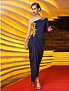 Coloană / Teacă Pe Umăr Lungime Podea Tricot Seară Formală Bal Militar Rochie cu Mărgele Aplică Drapat Părți de TS Couture®
