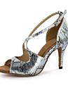 Chaussures de danse(Argent Or) -Personnalisables-Talon Aiguille-Similicuir-Latine Salon