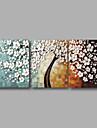 Peint a la main Abstrait A fleurs/Botanique Panoramique Horizontale,Moderne Trois Panneaux Peinture a l\'huile Hang-peint For Decoration