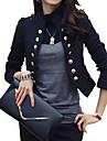Femei Guler Standing Blazer Casul/Zilnic / Muncă Șic Stradă,Mată Manșon Lung Toate Sezoanele-Alb / Negru Mediu Bumbac / Poliester