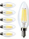 4W E14 Ampoules a Filament LED C35 4 COB 400 lm Blanc Chaud Decorative / Gradable AC 100-240 V 6 pieces
