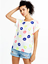 Femei Punctul Buze manse Floral Print Shirt