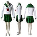 זול תחפושות אנימה-קיבל השראה מ InuYasha Kikyo אנימה תחפושות קוספליי חליפות קוספליי תלבושות לבית הספר טלאים שרוול ארוך עניבה עליון חצאית עבור בגדי ריקוד נשים