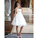 olcso Latin cipők-Hercegnő Scoop nyak Térdig érő Szatén / Tüll Made-to-measure esküvői ruhák val vel Gyöngydíszítés / Pántlika / szalag által LAN TING