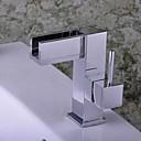 povoljno Tuš glave-Suvremena Središnje pozicionirane Waterfall Keramičke ventila Jedan Ručka jedna rupa Chrome, Kupaonica Sudoper pipa