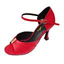 hesapli Latin Dans Ayakkabıları-Kadın's Balo / Salsa Ayakkabıları Elastik Kumaş Sandaletler Taşlı / Toka Stiletto Topuk Kişiselletirilmemiş Dans Ayakkabıları Siyah / Kırmzı / Çiğ Et