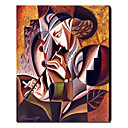 voordelige Abstracte schilderijen-Hang-geschilderd olieverfschilderij Handgeschilderde - Mensen Hedendaags Kangas