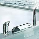 hesapli Banyo Lavabosu Muslukları-Küvet Muslukları - Çağdaş Krom Roma Küveti Seramik Vana Bath Shower Mixer Taps / İki Kolları Üç Delik
