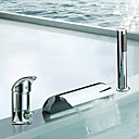 cheap Bathtub Faucets-Bathtub Faucet - Contemporary Chrome Roman Tub Ceramic Valve Bath Shower Mixer Taps / Two Handles Three Holes