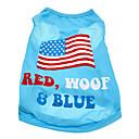 preiswerte Hundekleidung-Hund T-shirt Hundekleidung Nationalflagge Amerikaner / USA Baumwolle Kostüm Für Haustiere Herrn Damen
