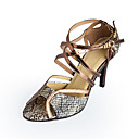 cheap Latin Shoes-Women's Latin Shoes / Ballroom Shoes Leatherette Heel Buckle Stiletto Heel Customizable Dance Shoes Bronze