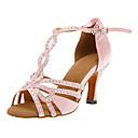 povoljno Cipele za latino plesove-Žene Plesne cipele Saten Cipele za latino plesove / Cipele za salsu Kopča Štikle Potpetica po mjeri Moguće personalizirati Pink / Koža / EU40