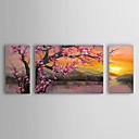 levne Krajiny-Hang-malované olejomalba Ručně malované - Květinový / Botanický motiv Klasické / tradiční Plátno / Reprodukce plátna