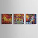 baratos Pinturas Florais/Botânicas-Pintados à mão Floral/Botânico Tela de pintura Pintura a Óleo Decoração para casa 3 Painéis