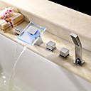 abordables Grifos de Bañera-Grifo de bañera - Moderno Cromo Bañera romana Válvula Cerámica / Latón / Dos manijas de cinco hoyos