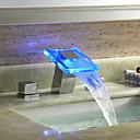 abordables Grifos de Lavabo-grifo del lavabo del baño - cascada cromada extendida tres orificios / dos manijas tres orificios / latón led