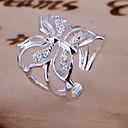 preiswerte Moderinge-Damen Synthetischer Diamant Verlobungsring - Krystall Schmetterling, Tier Luxus, Ohne Verschluss Verstellbar Silber Für Hochzeit Alltag