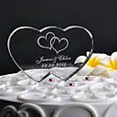 preiswerte Servier Sets-Personalisierte Double Heart Wedding Cake Topper