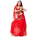hesapli Kolyeler-Göbek Dansı Kıyafetler Kadın's Performans Şifon Boncuklama / Drape / Madeni Para Doğal Top / Etek / Başlık