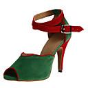 preiswerte Latein Schuhe-Damen Schuhe für den lateinamerikanischen Tanz / Ballsaal Satin Stöckelschuhe / Sandalen Schnalle Maßgefertigter Absatz Keine / Leder