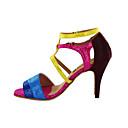 cheap Latin Shoes-Women's Latin Shoes / Ballroom Shoes Leatherette Heel Buckle Customized Heel Customizable Dance Shoes Fuchsia
