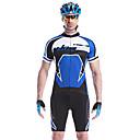baratos Camisas & Shorts/Calças de Ciclismo-Mysenlan Homens Manga Curta Camisa com Shorts para Ciclismo - Verde / Azul Moto Conjuntos de Roupas, Secagem Rápida, Respirável