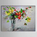 hesapli Manzara Resimleri-Hang-Boyalı Yağlıboya Resim El-Boyalı - Çiçek / Botanik Çağdaş Tuval