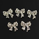 cheap Rhinestone & Decorations-10pcs bling charm bowknot full clear rhinestones 3d alloy nail art decoration