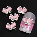 cheap Other Nail Tools-10pcs flying butterfly with pink cat s eye stone 3d alloy nail art decoration