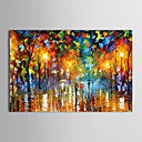 cheap Oil Paintings-IARTS®Oil Paintings Modern Landscape Rainy Street  Hand-painted Canvas Ready to Hang