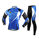 cheap Cycling Underwear & Base Layer-FJQXZ Men's Long Sleeve Cycling Jersey with Tights - Blue Bike Clothing Suit, Windproof, Breathable, 3D Pad, Thermal / Warm, Quick Dry Mesh Lines / Waves / Ultraviolet Resistant