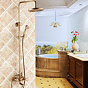 cheap Shower Faucets-Shower Faucet - Traditional Antique Brass Shower System Ceramic Valve