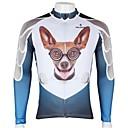 رخيصةأون جورسيه الدراجة-ILPALADINO رجالي كم طويل جورسيه الدراجة - أبيض + أزرق سكاي كلب حيوان كارتون الدراجة جورسيه قمم, متنفس سريع جاف الأشعة فوق البنفسجية مقاوم 100 ٪ بوليستر