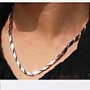 olcso Divat nyaklánc-Nyakláncok - Rozsdamentes acél, Titanium Acél Egyedi, Divat Ezüst Nyakláncok 1db Kompatibilitás Karácsonyi ajándékok, Esküvő, Parti