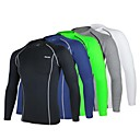cheap Running Shirts, Pants & Shorts-Arsuxeo Men's Long Sleeve Cycling Jersey - Navy Blue Light Grey Light Green Bike Baselayer Jersey Compression Clothing, Breathable Quick Dry Anatomic Design, Winter, Polyester Elastane / Tights
