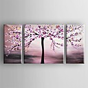 cheap Floral/Botanical Paintings-Oil Painting Hand Painted - Floral / Botanical Canvas Three Panels